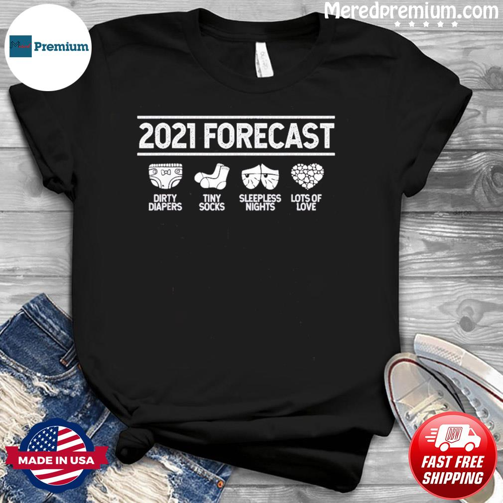 2021 Forecast New Mom Dad Expecting Baby Announcement T-shirt