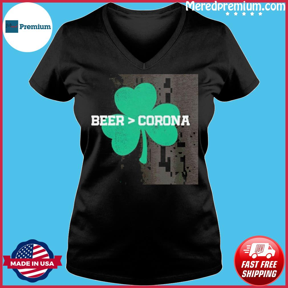 Beer Corona Saint Patrick's Day T-Shirt Ladies V-neck