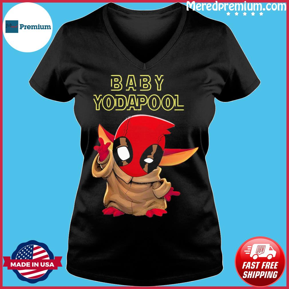 Official Deadpool Star Wars Baby Yodapool Shirt Ladies V-neck