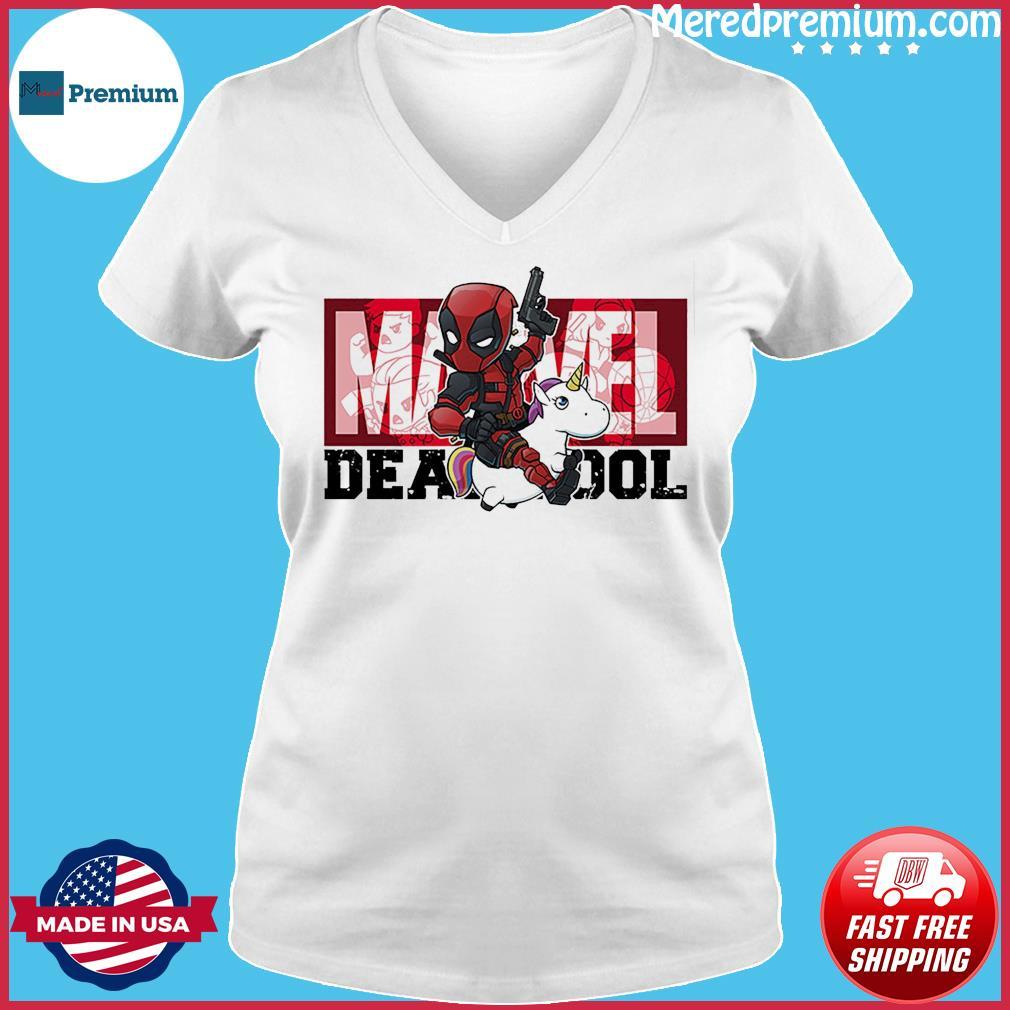 The Marvel Deadpool Riding Unicorn Shirt Ladies V-neck