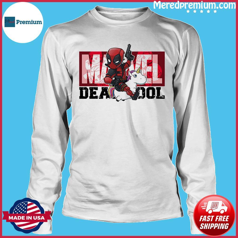 The Marvel Deadpool Riding Unicorn Shirt Long Sleeve