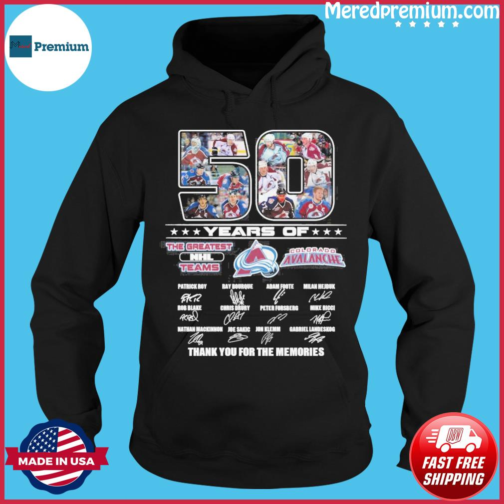 50 Years Of The Greatest Nhl Teams Colorado Avalanche Signatures Thank You For The Memories Shirt Hoodie