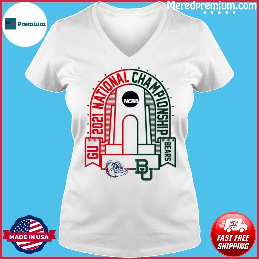 BU Baylor Bears vs GU Gonzaga Bulldogs 2021 NCAA Men's Basketball National T-Shirt Ladies V-neck