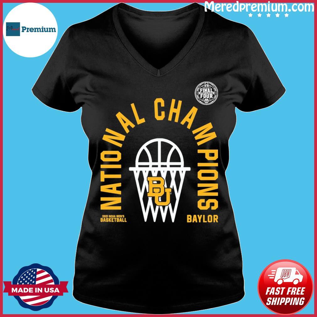 Official BU Baylor Bears 2021 NCAA Men's Basketball National Champions Arc Velocity Shirt Ladies V-neck
