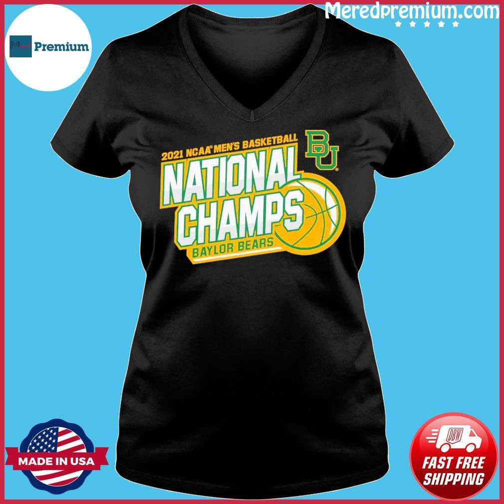 Official BU Baylor Bears 2021 NCAA Men's Basketball National Champions Shirt Ladies V-neck