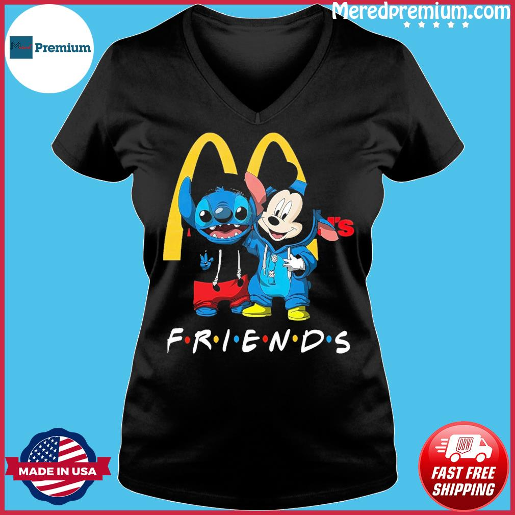 Baby stitch and mickey mouse friends mcdonalds logo s Ladies V-neck