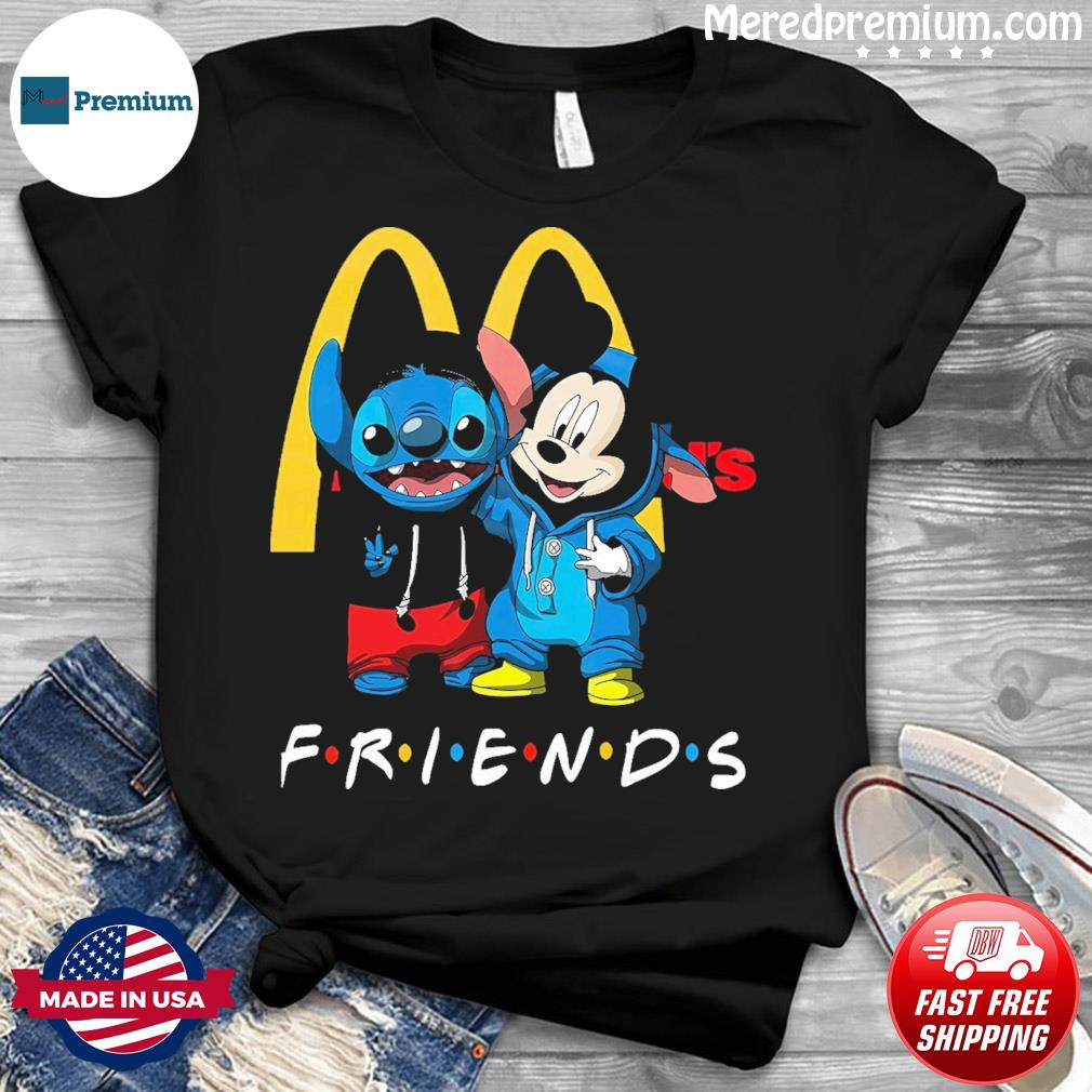 Baby stitch and mickey mouse friends mcdonalds logo shirt