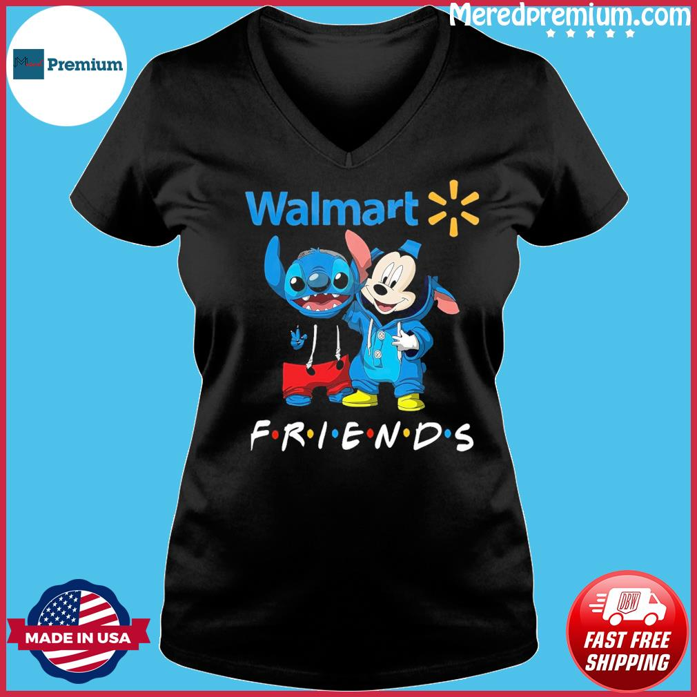 Baby stitch and mickey mouse friends walmart logo s Ladies V-neck