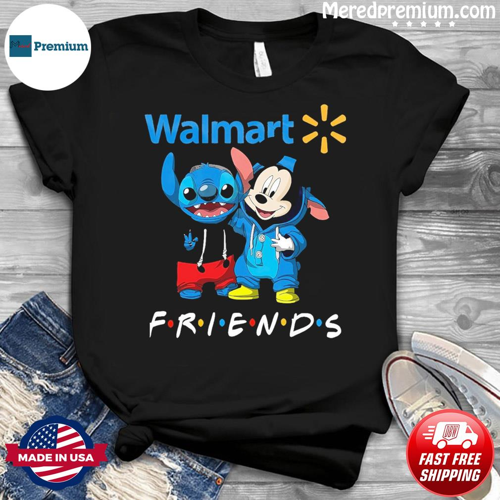 Baby stitch and mickey mouse friends walmart logo shirt