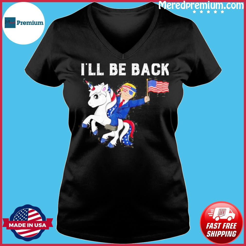 Donald trump hug american and unicorn i'll be back s Ladies V-neck