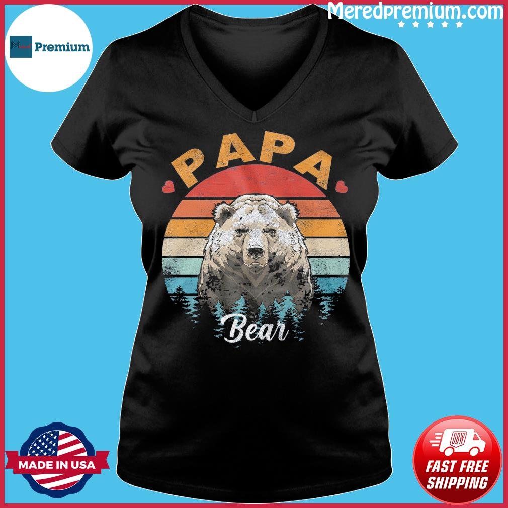Official Papa Bear Vintage - Happy Father's Day 2021 Shirt Ladies V-neck
