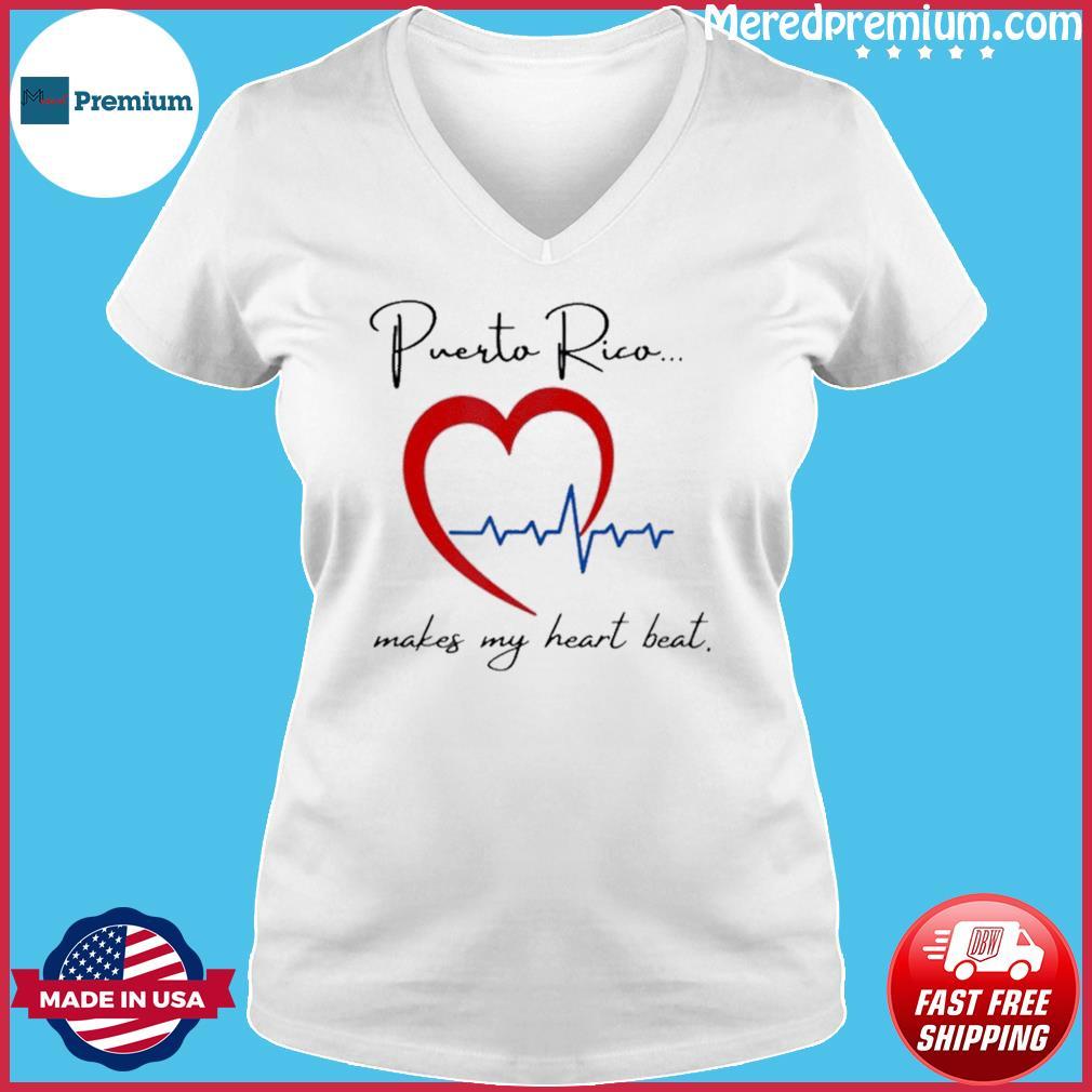 Puerto Rico Makes My Heart Beat Shirt Ladies V-neck