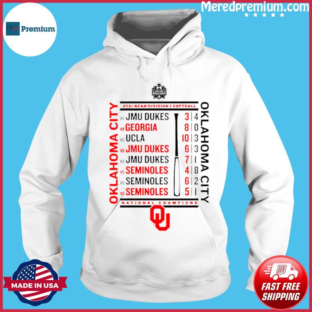 Crimson Oklahoma Sooners 2021 NCAA Softball Women's College World Series Champions Schedule T-Shirt Hoodie