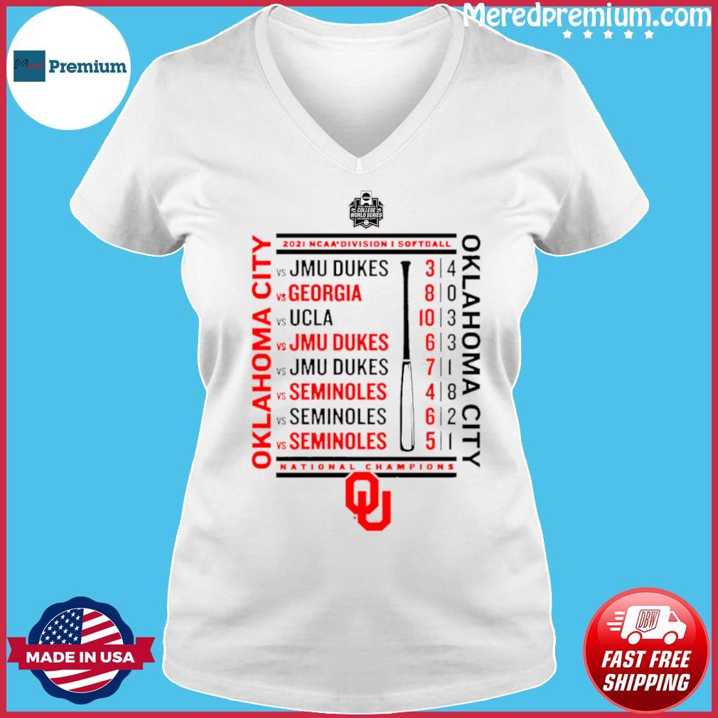 Crimson Oklahoma Sooners 2021 NCAA Softball Women's College World Series Champions Schedule T-Shirt Ladies V-neck