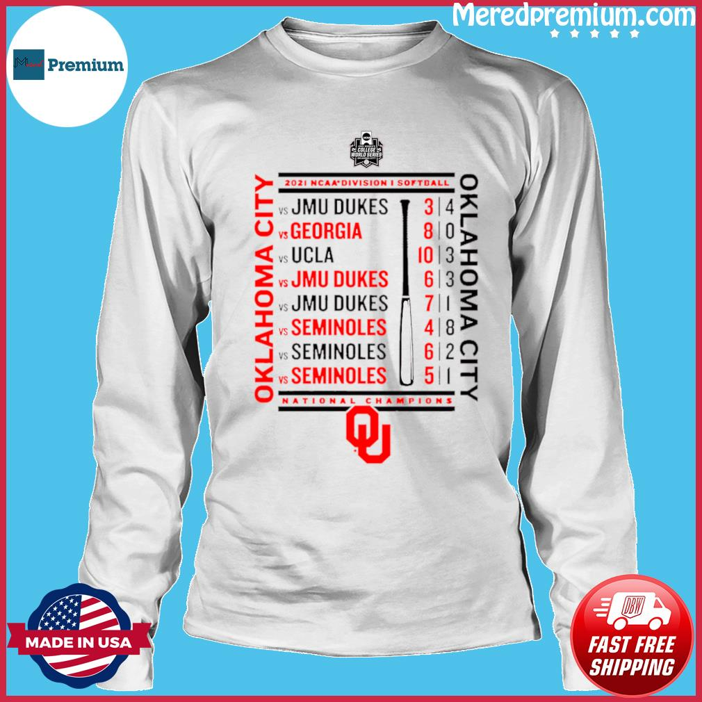 Crimson Oklahoma Sooners 2021 NCAA Softball Women's College World Series Champions Schedule T-Shirt Long Sleeve
