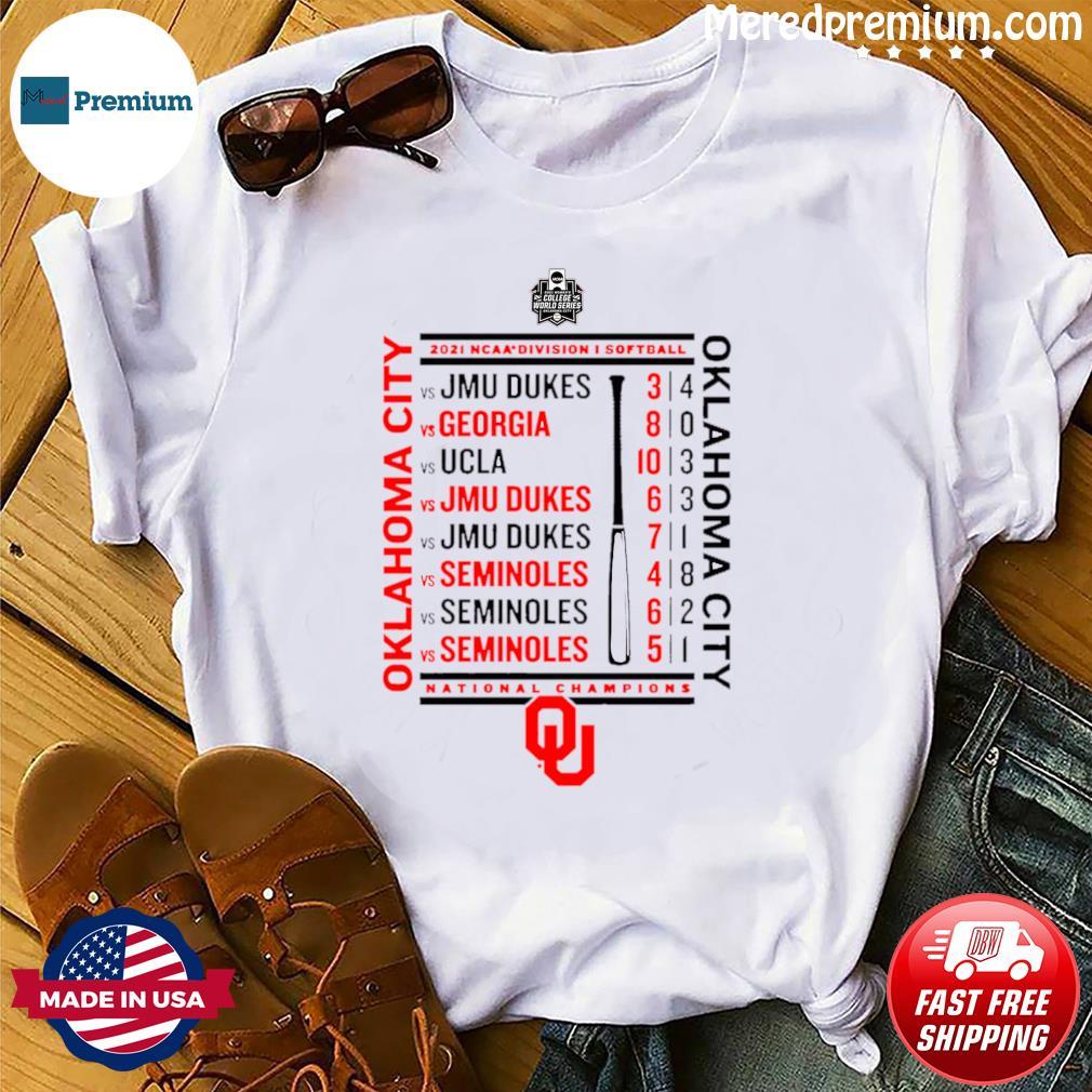 Crimson Oklahoma Sooners 2021 NCAA Softball Women's College World Series Champions Schedule T-Shirt