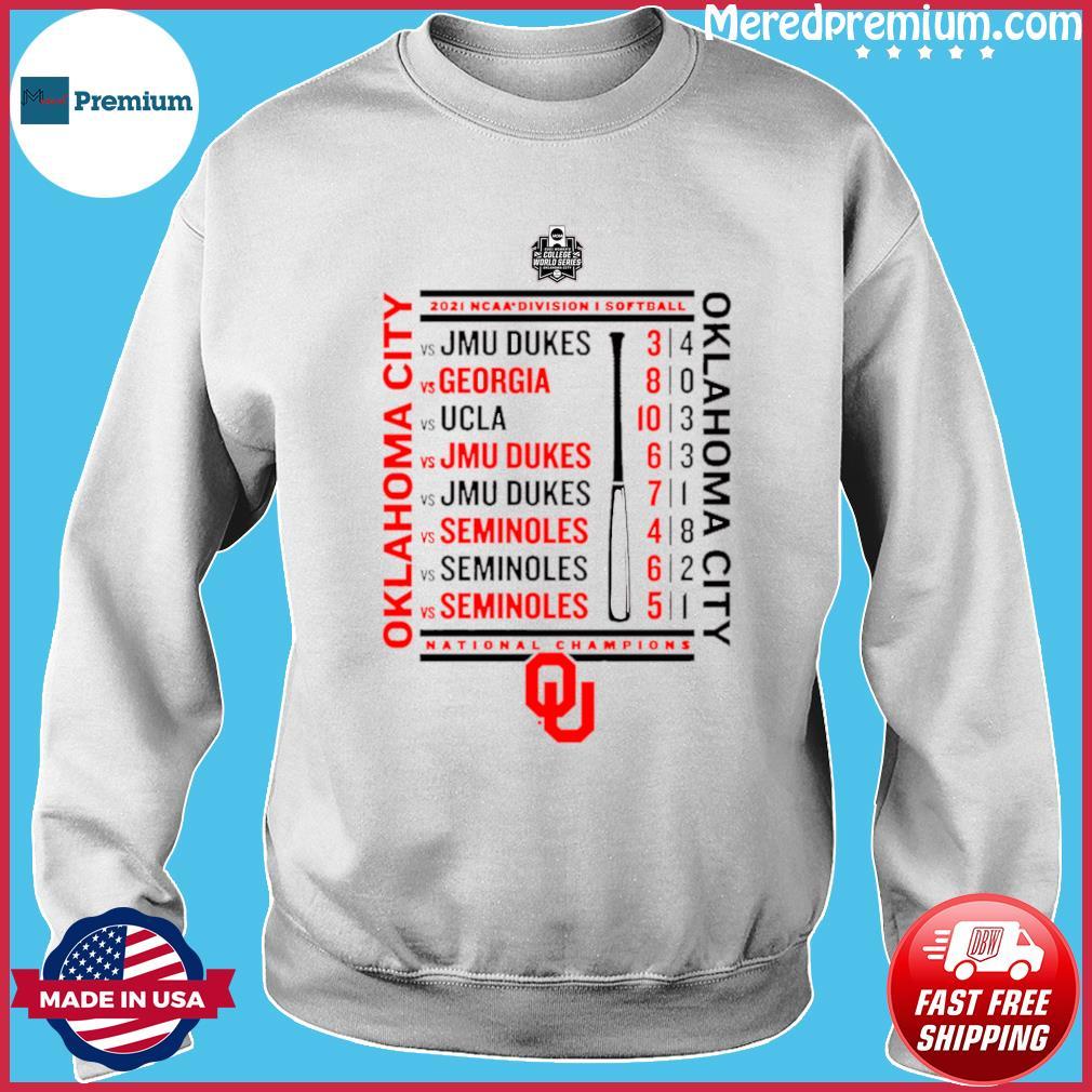 Crimson Oklahoma Sooners 2021 NCAA Softball Women's College World Series Champions Schedule T-Shirt Sweater