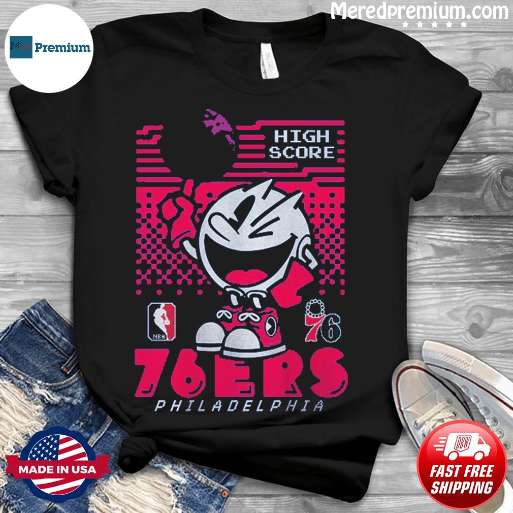 Official Philadelphia 76ers Junk Food NBA x Pac Man High Score T-Shirt