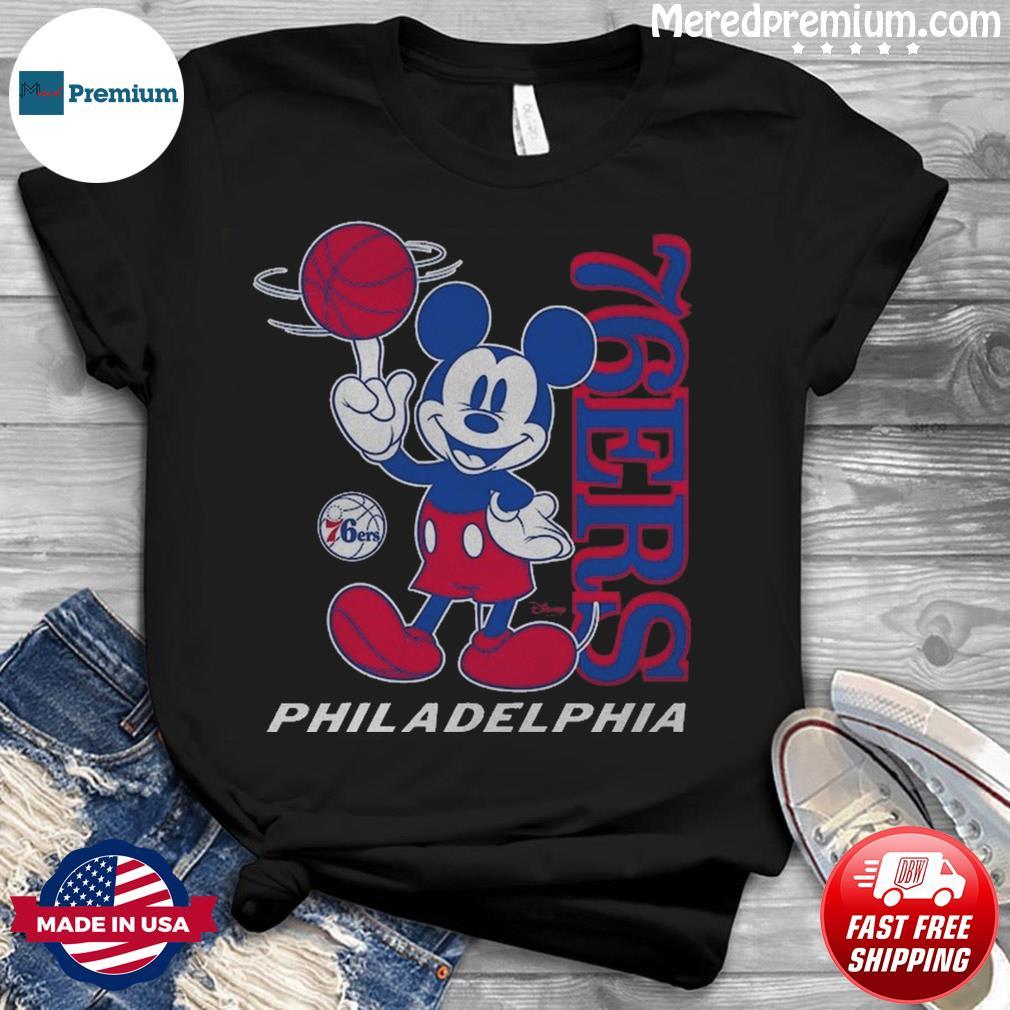 Philadelphia 76ers Junk Food Disney Vintage Mickey Mouse Baller T-Shirt