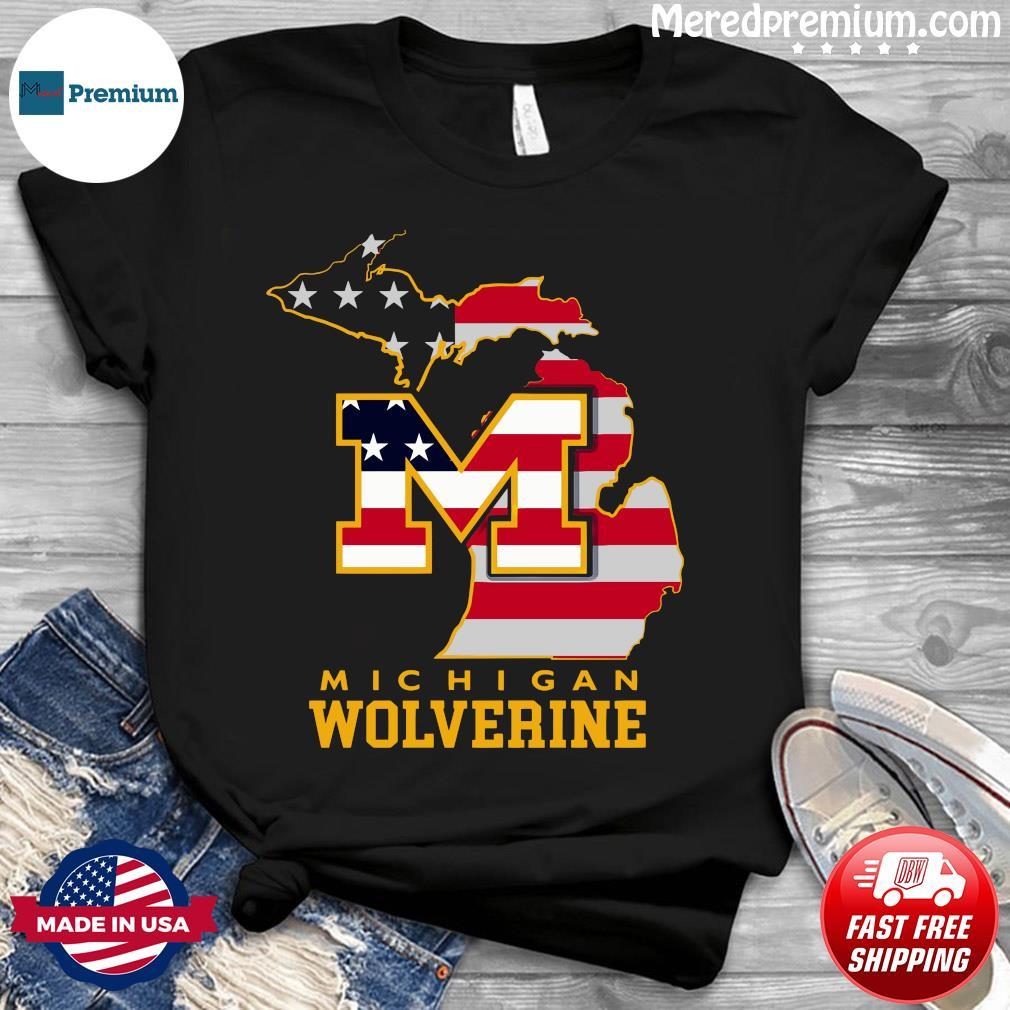 Michigan Wolverine American Map Flag Shirt