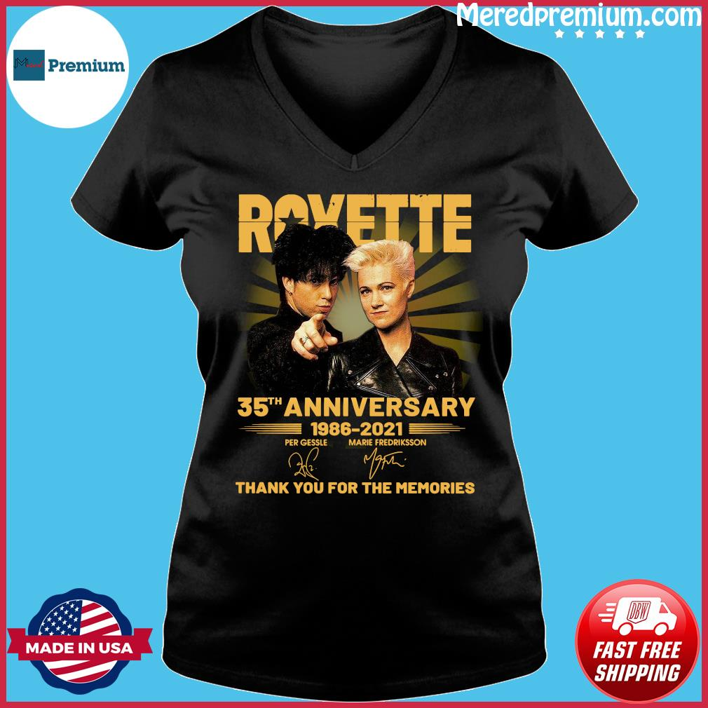 Roxette 35th Anniversary 1986 2021 Thank You For The Memories Signatures Shirt Ladies V-neck
