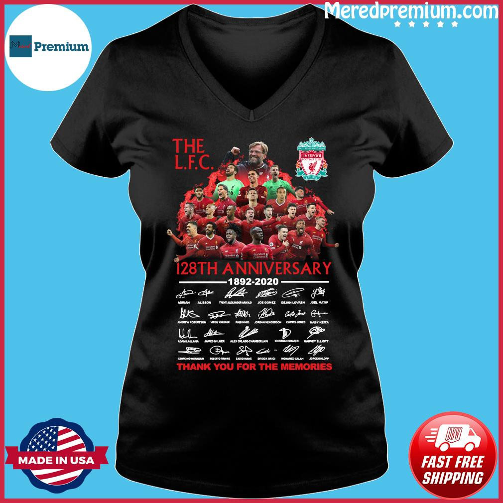 The Lfc 128th Anniversary 1892 2020 Thank You For The Memories Signatures Shirt Ladies V-neck