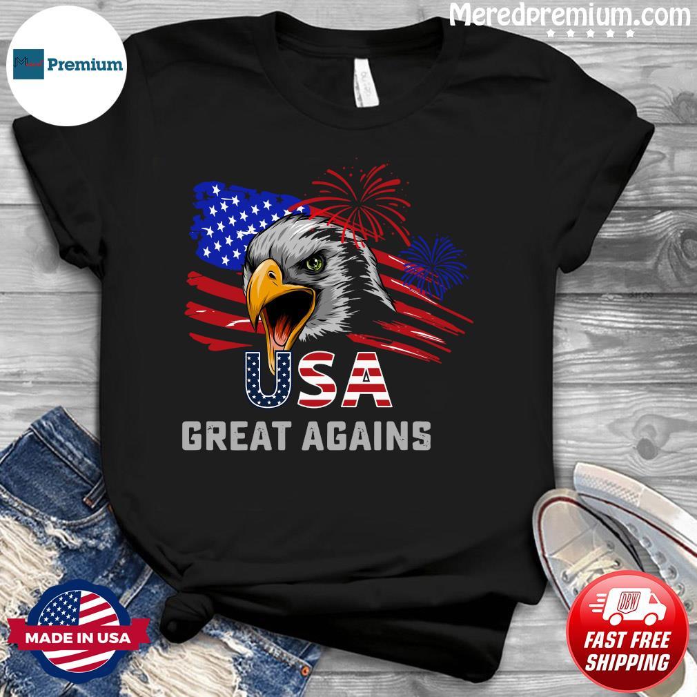 Usa Great Again 4th Of July Bald Eagle American Flag Shirt