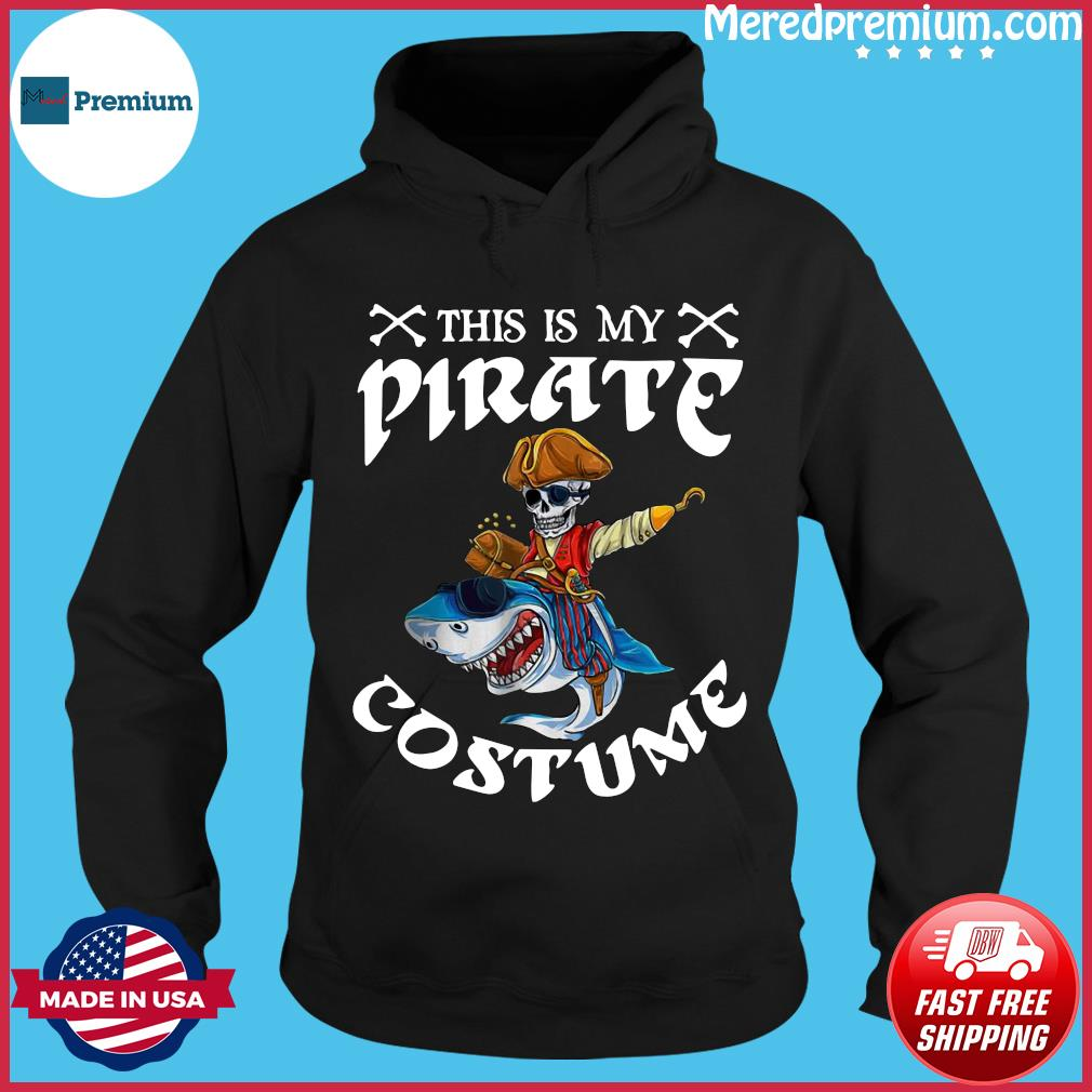 Halloween Pirate Costume Pirate Riding Shark Skqull Skeleton Shirt Hoodie