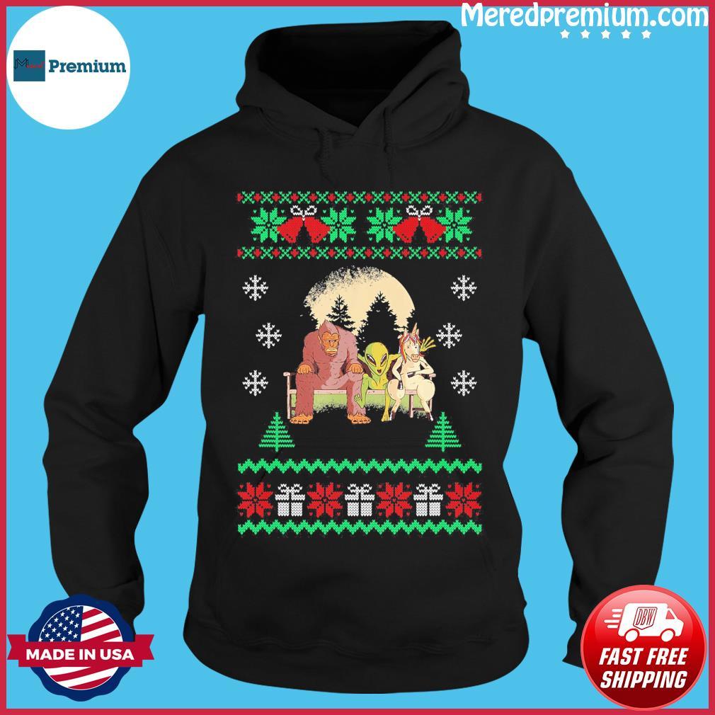 Bigfoot Unicorn Alien 2020 Ugly Christmas Sweats Hoodie