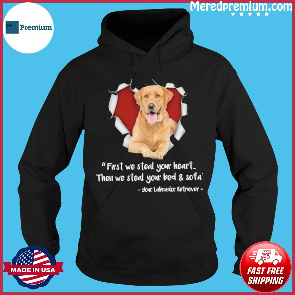 Golden Dog First We Steal Your Heart Then We Steal Your Bed Sofa Shirt Hoodie