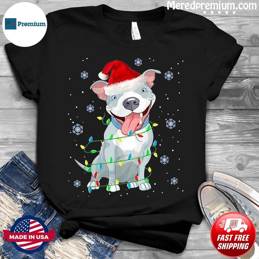 Pitbull Santa Light Merry Christmas Sweatshirt